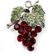 Avalaya Swarovski Crystal Bunch Of Grapes Brooch (Burgundy Red & Light Green, Silver Tone)