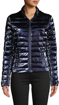 Blanc Noir Super Hero Metallic Moto Puffer Jacket