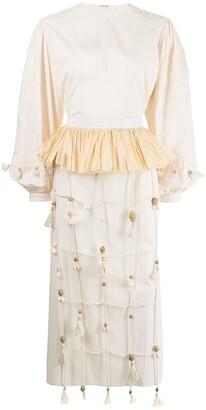 Johanna Ortiz Tassel-Detail Mid-Length Dress