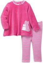 Offspring Velour Cat Tunic & Legging Set (Baby Girls 3-9M)
