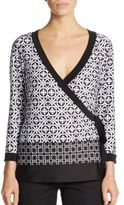 Saks Fifth Avenue BLACK Geo-Print Wrap Top