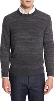 Neiman Marcus Cashmere-Cotton Athletic Crewneck Sweater, Navy/Denim