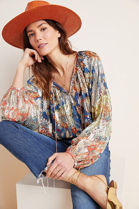 Stephania Shimmer Peasant Blouse By Verb by Pallavi Singhee in Blue Size XS