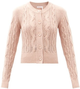 See by Chloe Round-neck Cable-knit Wool-blend Cardigan - Light Pink