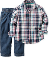 Carter's 2-Pc. Long-Sleeve Plaid Shirt & Jeans Set, Baby Boys