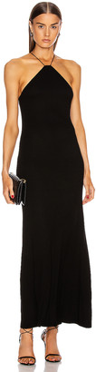 Enza Costa for FWRD Silk Rib Halter Fitted Ankle Dress in Black | FWRD