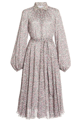 Luisa Beccaria Belted Floral Georgette Shirt Dress