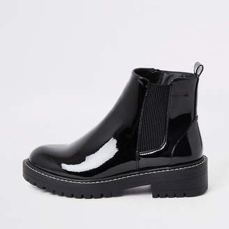 River Island Black wide fit chunky patent boots