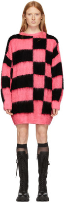 MSGM Pink and Black Check Sweater Dress