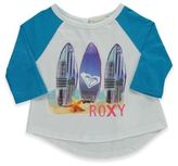 Roxy Size 2T Surfer Queen 3/4 Sleeve Jersey Tee in Turquoise/White