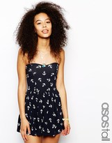 Asos TALL Bandeau Playsuit In Anchor Print