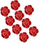 Yazer 10Pack Fashion Design 40mm Rose Flower Ceramic Flora Dresser Knobs Cupboard Drawer Pulls and Handles With 1 Bag Screws