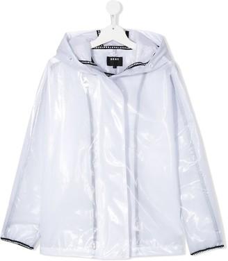 DKNY TEEN sheer hooded raincoat