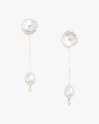 Poppy Finch Petal Pearl Long Drop Earrings