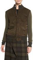 Ralph Lauren Suede-Front Sweater Jacket, Olive