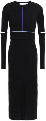 Victoria Beckham Cutout Split-front Embroidered Ribbed-knit Midi Dress