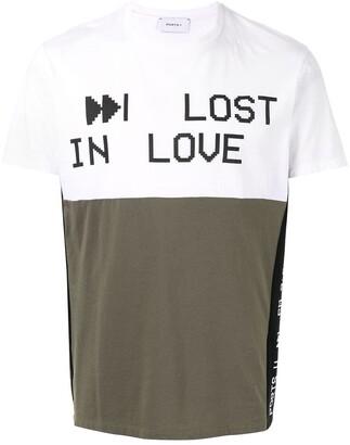 Ports V colour-block slogan T-shirt