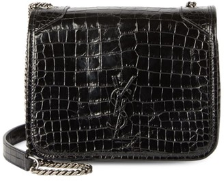 Saint Laurent Mini Niki Croc-Embossed Leather Crossbody Bag