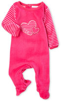 Absorba Newborn/Infant Girls) Embroidered Hearts Velour Footie