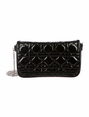 Christian Dior Patent Cannage Lady Chain Wallet Black