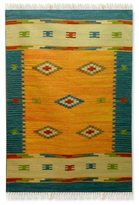 Novica Handcrafted Wool 'Fireworks' Rug (4x6) (India)