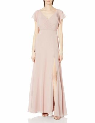 Jenny Yoo Women's Alanna Flutter Sleeve Open Back Long Chiffon Gown