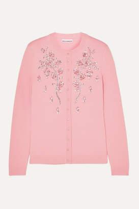 Paco Rabanne Crystal-embellished Merino Wool Cardigan - Pink