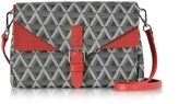 Lancaster Paris Ikon Black & Red Coated Canvas and Leather Mini Clutch
