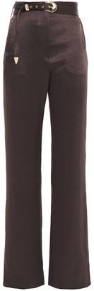 Nanushka Kisa Belted Washed-satin Wide-leg Pants