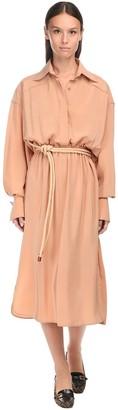 Fendi Silk Crepe Midi Dress W/ Belt