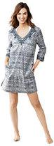 Lands' End Women's Petite Tunic Cover Up with Soutache-Silver Frost Batik