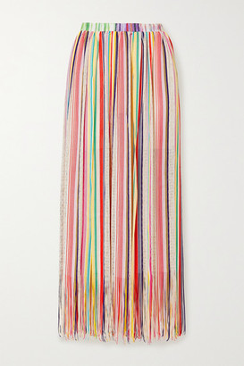 Missoni Mare Fringed Striped Crochet-knit Maxi Skirt - Yellow