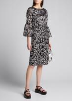 Dries Van Noten Leopard Jacquard Flutter-Sleeve Dress