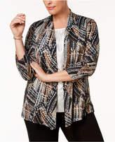 Kasper Plus Size Patterned Open Cardigan