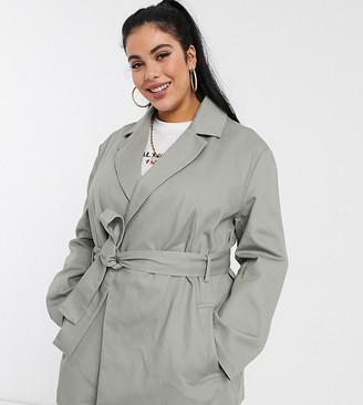 ASOS DESIGN Curve canvas belted shacket in gray