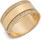 Thalia Sodi Gold-Tone Hammered-Look and Pavé Hinged Bangle Bracelet, Only at Macy's