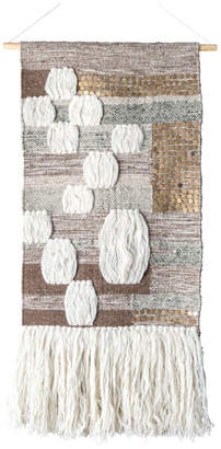 "nuLoom Hand Woven Wool Cotton Earlean Wall Hanging, Ivory, 18"" x 30"""
