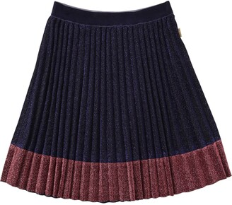 Little Marc Jacobs Pleated Lurex Skirt W/ Contrasting Hem