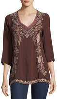 Johnny Was Ollie 3/4-Sleeve Embroidered Blouse, Plus Size