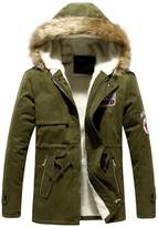 Hee Grand Men's Faux Fur Long Winter Trench Jacket Coat Hooded Parka Chinese M