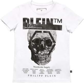 Philipp Plein Junior EMBELLISHED SKULL COTTON JERSEY T-SHIRT