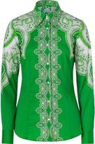 Etro Green Stretch Cotton Paisley Print Shirt