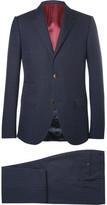 Gucci Blue Slim-fit Signoria Slim-fit Micro-spot Cotton And Wool-blend Suit