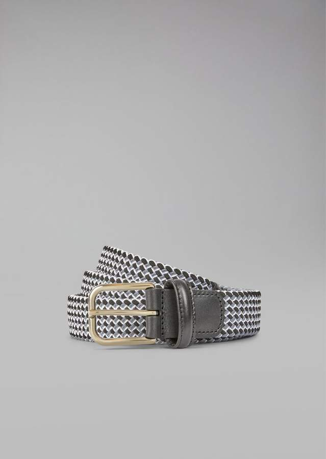 Giorgio Armani Woven Belt With Leather Details