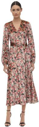Rotate by Birger Christensen Printed Velvet Wrap Dress