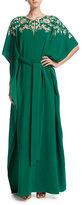 Oscar de la Renta Embroidered Half-Sleeve Caftan Gown, Green