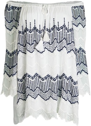 Le Marais Embroidered Off-The-Shoulder Cotton Tunic Top