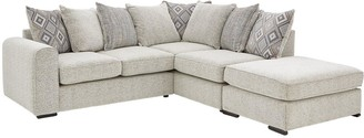 Cavendish Lewis Right Hand Corner Chaise Fabric Scatter Back Sofa and Footstool