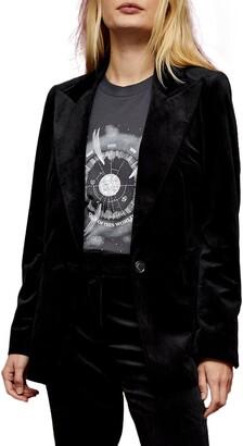 Topshop Peaked Lapels Velvet Suit Blazer