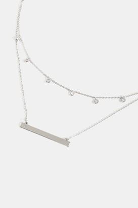 francesca's Raquel Layered CZ Station Necklace - Silver